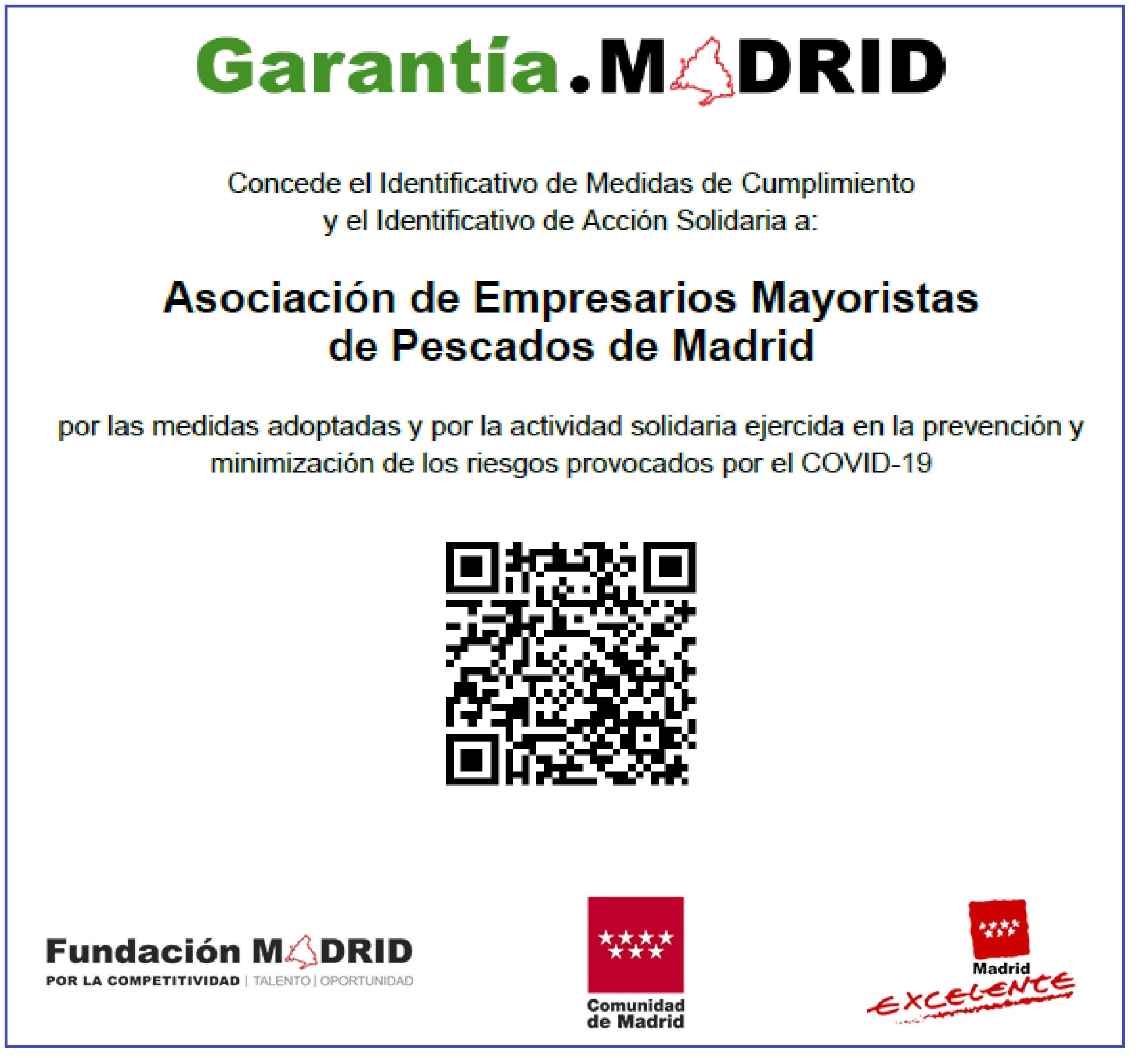 AEMPM certificado del Identificativo Garantia Madrid
